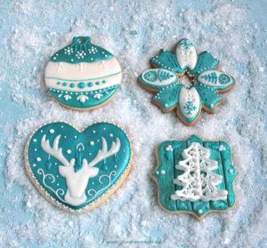 """Royal Icing Kekse """"Teal Christmas"""""""